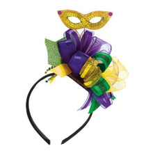 Mardi Gras Bow Headband With Ribbon Purple Green Yellow