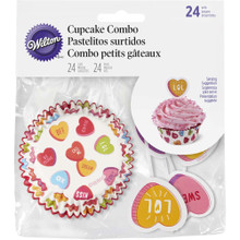 Wilton Candy Hearts 24 Valentine's Cupcake Combo Picks & Cups