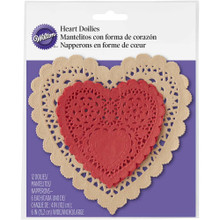 "Wilton 12 Ct Paper Heart Doilies 6"" Natural and 4"" Red Valentine's Day"