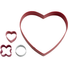 Hugs & Kisses Heart Cookie Cutters 4 pc Set Wilton Metal XO Game