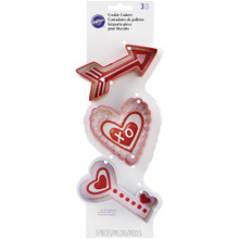 Wilton Heart Cupids Arrow Key Cookie Cutters Colorful Metal 3 Pc Set