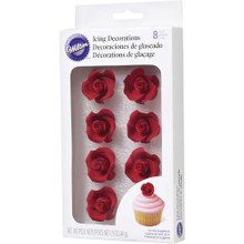 Red 8 Medium Rose Royal Icing Decorations Wilton