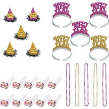 Glitz and Glam Pink Gold New Years Eve Party Kit for 10 Beads Horns Tiaras Hats