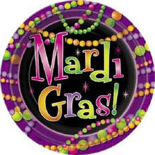 "Mardi Gras Beads 9"" Lunch Plates 8 ct Party Tableware"