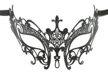 Black Laser Cut Venetian Masquerade Metal Filigree Mask Rhinestones Fleur De Lis