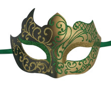 Green Gold Unique Mardi Gras Masquerade Prom Mask