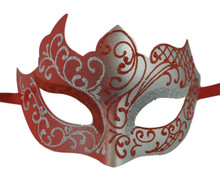 Red Silver Unique Mardi Gras Masquerade Prom Mask