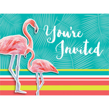Island Oasis 8 Invitations with Envelopes Summer Luau Party Flamingos