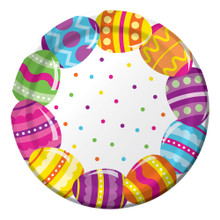 "Easter Egg Fun 8 Ct 9"" Lunch Paper Plates Colorful Spring Party"