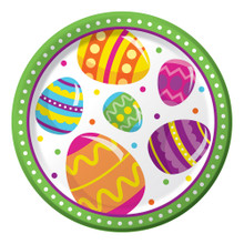 "Easter Egg Fun 8 Ct 7"" Dessert Paper Plates Colorful Spring Party"
