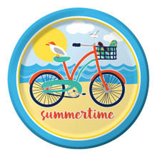 "Beach Bike 8 Ct 9"" Lunch Paper Plates Summer Party ""Summertime"""