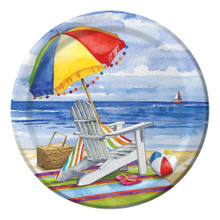 "Day at the Beach 8 Ct 9"" Lunch Paper Plates Summer Party"