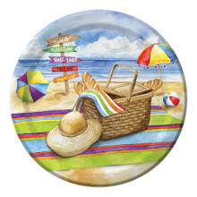"Day at the Beach 8 Ct 7"" Dessert Paper Plates Summer Party"