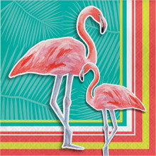 Island Oasis 16 Ct Lunch Napkins Summer Luau Pool Party Flamingos