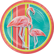 """Island Oasis 8 Ct 9"""" Lunch Paper Plates Summer Luau Pool Party Flamingos"""