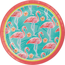 "Island Oasis 8 Ct 7"" Dessert Paper Plates Summer Luau Pool Party Flamingos"