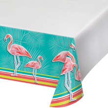 Island Oasis Plastic Tablecover 54 x 102 Summer Luau Pool Party Flamingos