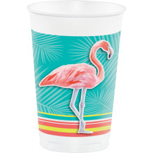 Island Oasis 8 ct Plastic 16 oz Cups Summer Luau Pool Party Flamingos