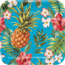 "Aloha 8 Ct Dessert 7"" Paper Plates Summer Luau Party Pineapple Hibiscus"