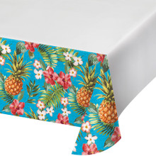 "Aloha Plastic Tablecover 54"" x 102"" Summer Luau Party Pineapple Hibiscus"