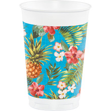 Aloha 8 Plastic 16 oz Cups Summer Luau Party Pineapple Hibiscus