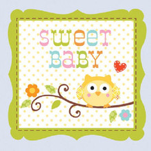 Happi Tree 16 Ct Blue Beverage Boy Napkins Baby Shower Sweet Baby Owl Paper