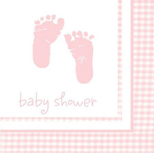 Plaid Girl Pink Baby Shower Party 16 Ct Beverage Napkins