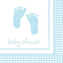 Plaid Blue Boy 16 Beverage Napkins Baby Shower Party Footprints