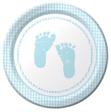 "Plaid Boy Blue Baby Shower Party 8 Ct Dessert 7"" Plates Footprints"