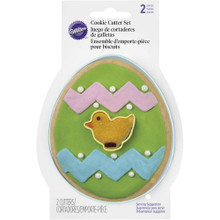 Egg with Mini Chick Comfort Grip Cookie Cutter 2 Pc Set Wilton