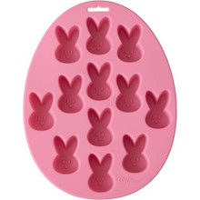 Easter Mini Silicone Bunny, Egg Shaped Pink Mold Wilton 12 Cavities