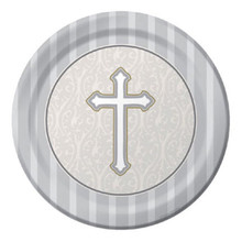 "Devotion Cross 8 Ct 9"" Lunch Plates Baptism Confirmation Communion Christening"