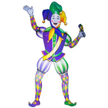 Jointed Jester Cutout Mardi Gras Decoration