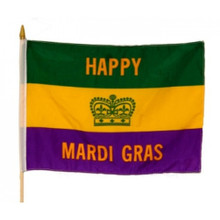 Happy Mardi Gras Stick Flag Party Supplies 12 x 18 inches