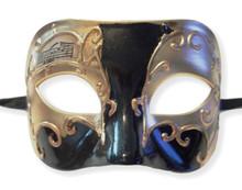 Black Gold Venetian Men's Mardi Gras Masquerade Mask