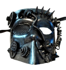 Steampunk Bauta Masquerade Mask Men Antique Brushed Silver
