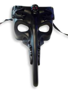 Black Skull Red Eyes Long Nose Masquerade Mardi Gras Men's Mask