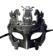 Brushed Silver Antique Warrior Greek Pegasus Masquerade Mardi Gras Men's Mask