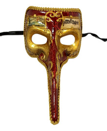 Red Antique Long Nose Bird Mardi Gras Masquerade Venetian Mask Zanni