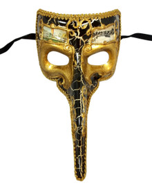 Black Antique Long Nose Bird Mardi Gras Masquerade Venetian Mask Zanni