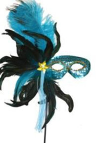Turquoise Feather Masquerade Ball Decor Mardi Gras Party Stick Mask