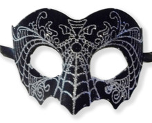 Black Silver Suede Leather Laser Cut Venetian Masquerade Prom Mask Goth
