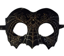 Black Gold Suede Leather Laser Cut Venetian Masquerade Prom Mask Goth