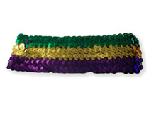Sequin Mardi Gras Elastic Headband Purple Green Gold