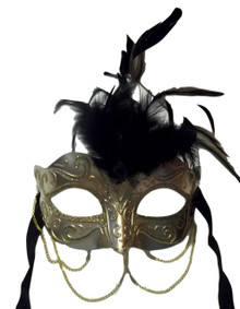 Gold Metallic with Chains Venetian Masquerade Mask Black Feathers Small