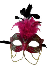 Hot Pink and Gold with Chains Venetian Masquerade Mask Feathers Small