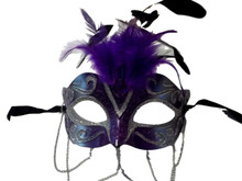 Purple Silver with Chains Venetian Masquerade Mask Feathers Small