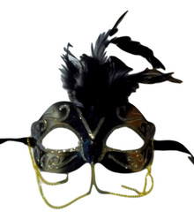 Black Gold with Chains Venetian Masquerade Mask Feathers Small