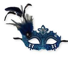 Blue Mardi Gras Princess Venetian Masquerade Mask Feathers
