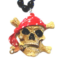 Pirate skull and crossbones Mardi Gras Necklace Beads Bead